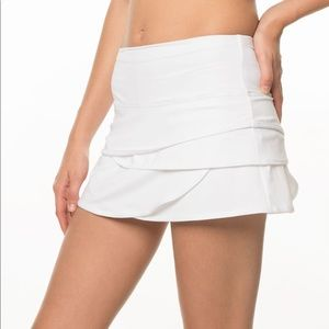 Lucky in Love Scallop Tennis Skirt White Xs